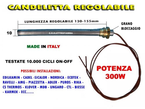 Candeletta accensione resistenza RACC 3//8 300 W L 140 150 d 9,9 mm stufa pellet