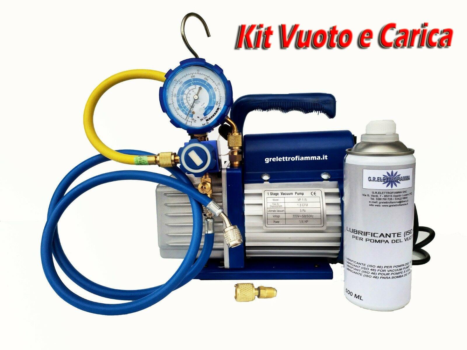 KIT CARICA E VUOTO POMPA 70 LT MANOMETRO RICARICHE GAS R410 R32 CONDIZIONATORE