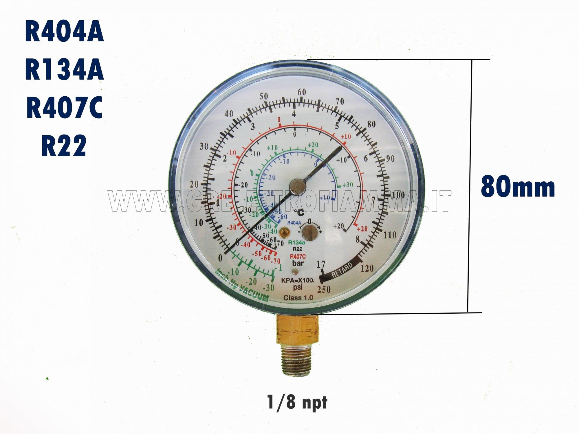R410A ecc. Manometro-Aria Condizionata Refrigerazione Test della pressione dellazoto Tabella del test della pressione del manometro per R134a R407C R22