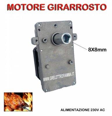MOTORE MOTORIDUTTORE GIRARROSTO 23W 2RPM GRILL BARBECUE ASTA SPIEDO FORNO 8x8 copia