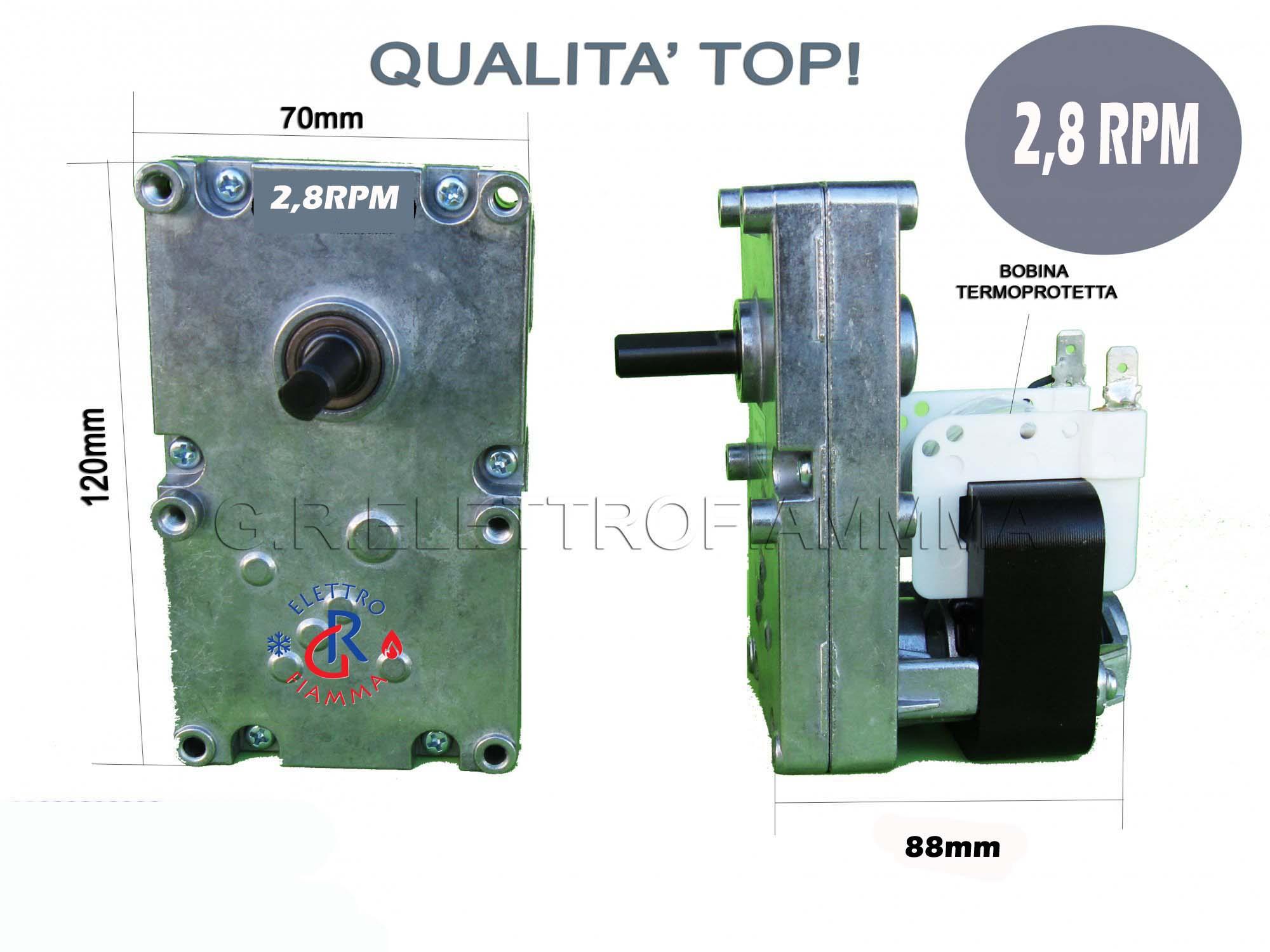 MOTORIDUTTORE STUFA PELLET 4.75 RPM ALBERO D 8.5 ARCE EXTRAFLAME DAL ZOTTO  ECC.