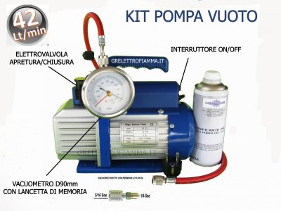 KIT DE CONDITIONNEMENT REFRIGERATEUR POMPE A VIDE 42 LT MIN GAZ R410A R32
