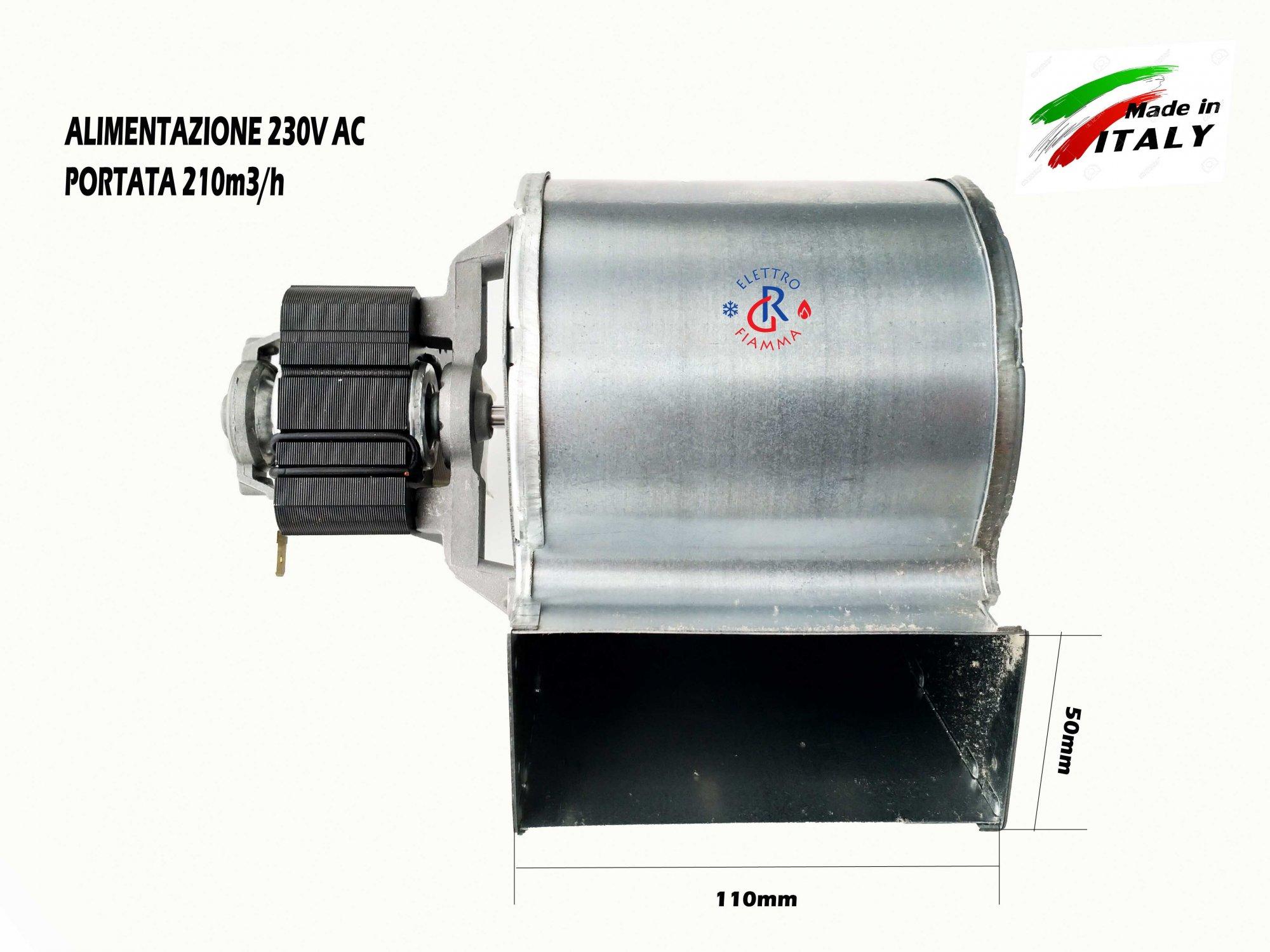 Tubi Aria Calda Stufa Pellet ventola centrifuga per stufe a pellet e camino 50x110 motore sx extraflame  tosca plus emmevi 206501