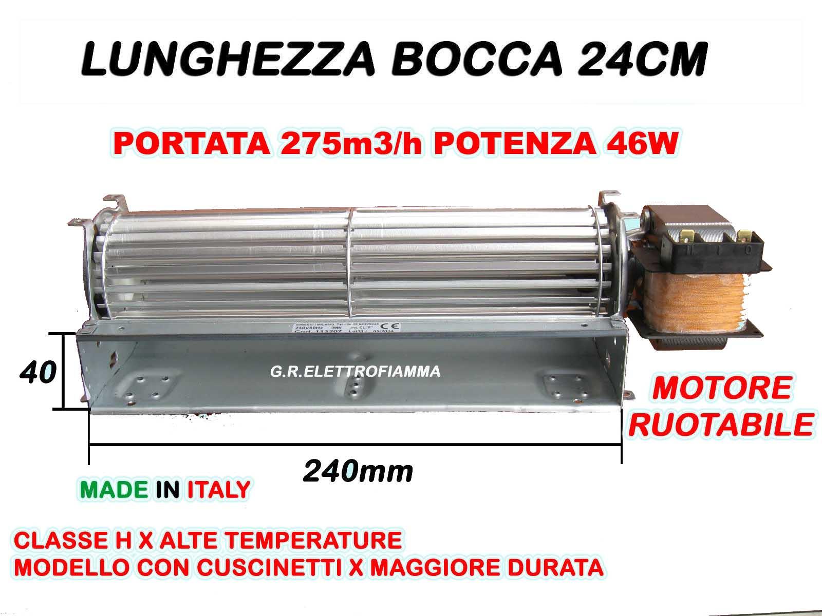 Ventilatore Tangenziale 60 MOTORE SINISTRO termo camino stufa a pellet frigo